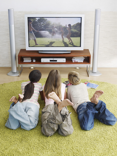Three Kids Watching TV