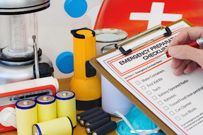 Emergency Evacuation Plan with supplies