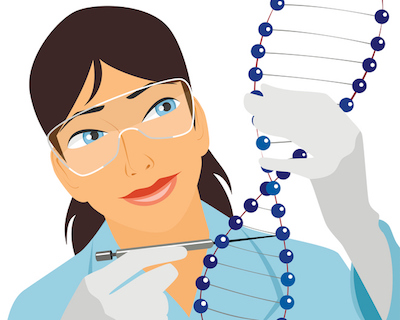 Female Scientist Looking at DNA strand
