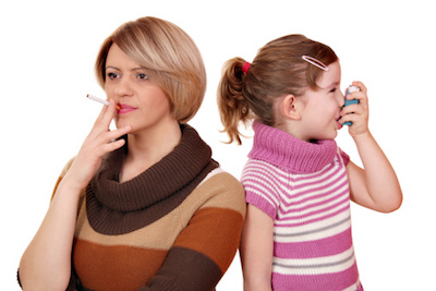 Mom Smoking Near Child with Inhaler